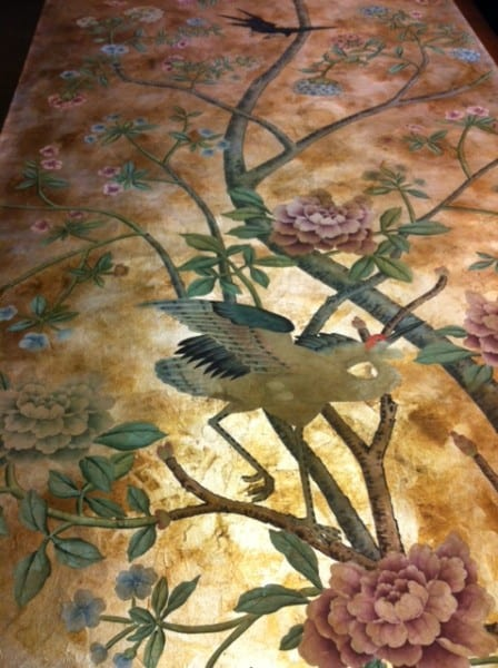 Hand painted wall covering pannel
