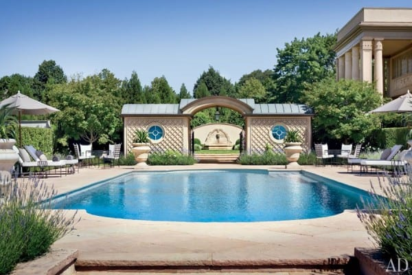 AD- Villa Maria- The sandstone-paved pool terrace is outfitted with furniture by Amalfi Living
