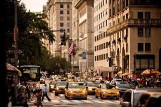 Yellow Cabs on 5th Avenue, far cheaper than Pedi-Cabs!