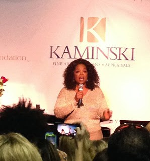 19 Pre-Auction Party- Oprah adressing the crowd at the VIP opening befoe the next days auction