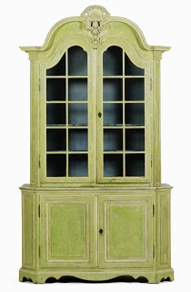 32 18th Century Louis XVI paint decorated cabinet, est 15K-25K, sold for 8.5K