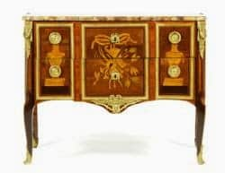 34 18th Century, Louis XVI bureau, stamped Boudin, ormolu mounted, inlaid with kingwood and tulipwood est 30K-50K, sold 21K