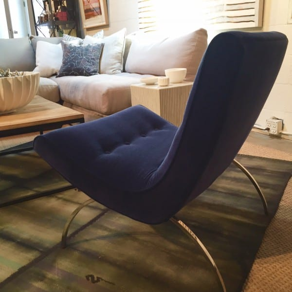 Blue velvet chair with Lee sectional