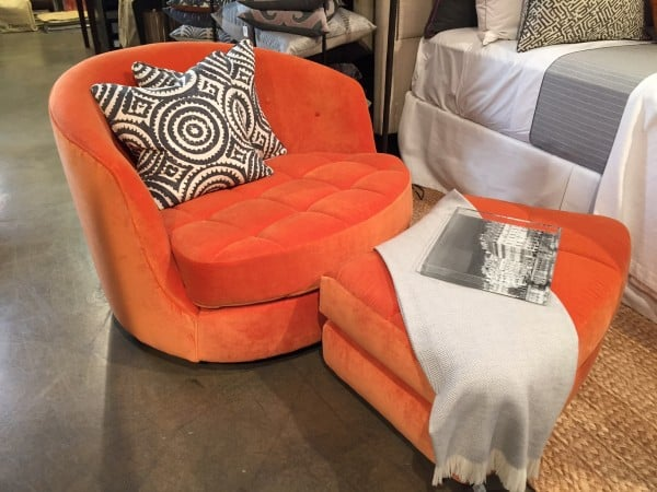 Orange velvet fabric on Thayer Coggin Chair and ottoman