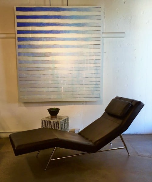 Milo Baughman leather chaise wtih blue painting