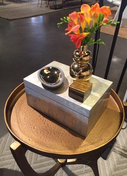 large bone box on gold table