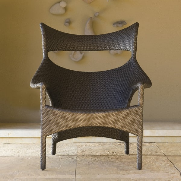 Bronze finish Amari High Back Lounge Chair used indoors