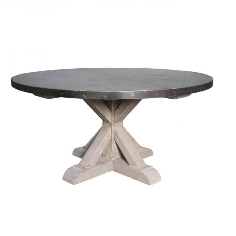 Zinc Top Dining Table Round Cabana Home
