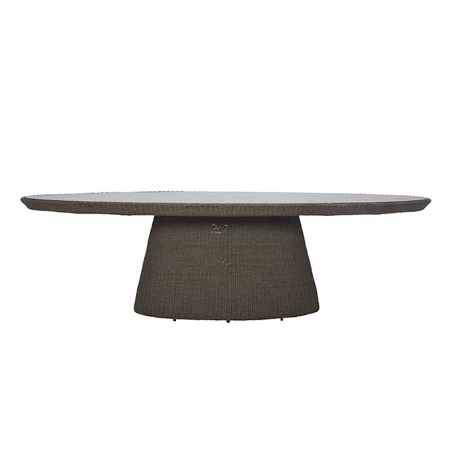 Strada Floating Glass Top Oval Dining Table – Taupe