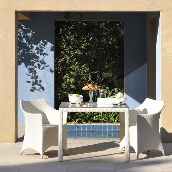 White Amari Dining Chair and Table poolside