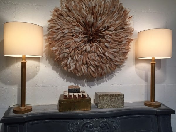 A pair of modern Lamps, vintage African feathered headdress and a collection of boxes