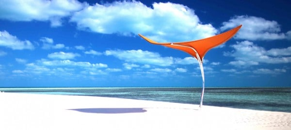 A blazing orange Sunbrella fabric on the Stingray umbrella
