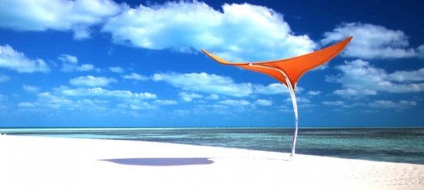 A blazing orange Sunbrella fabric on the Stingray umbrella