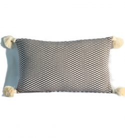grey natural checkerboard rectangular pillow