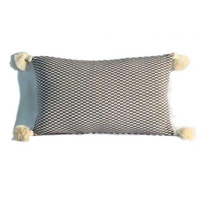 grey natural checkerboard rectangular pillow