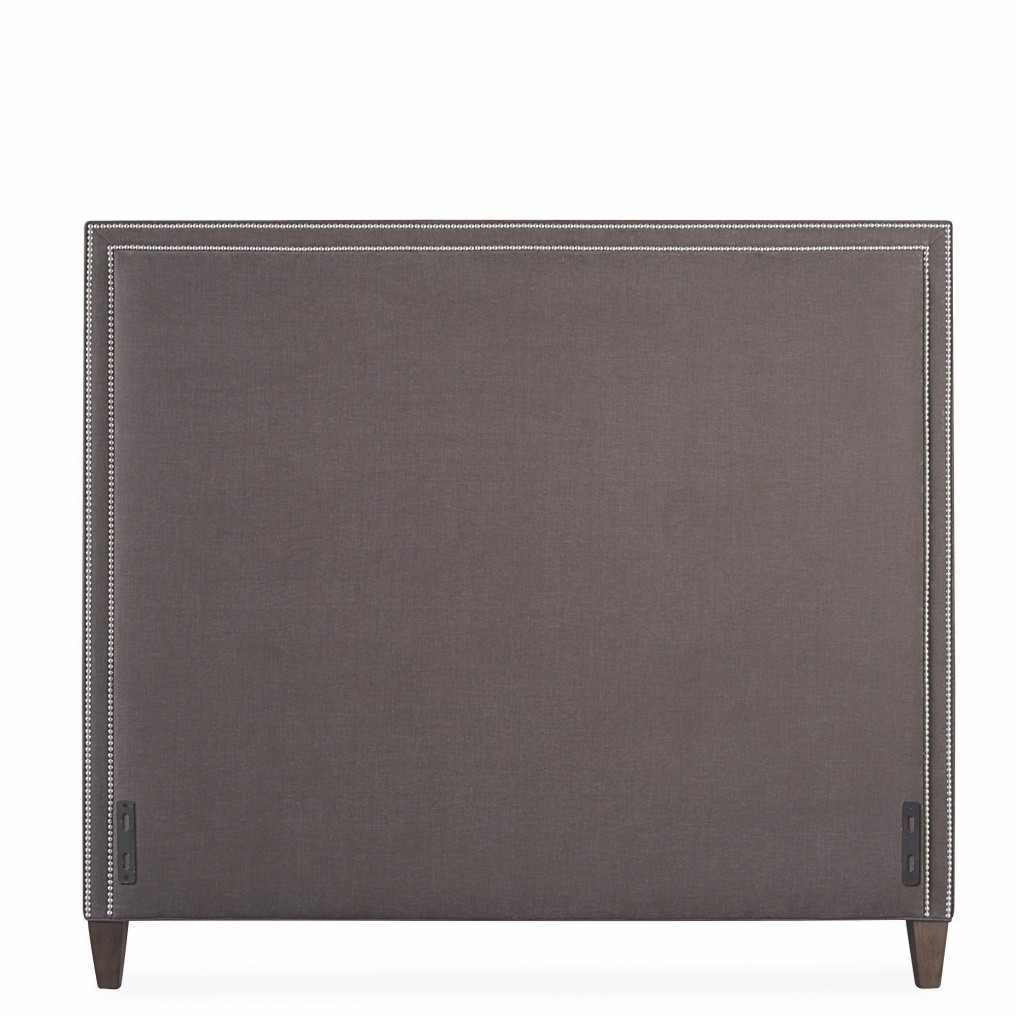upholstered grey headboard nailheads