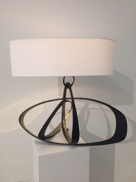 Bronze lamp with gold detailing