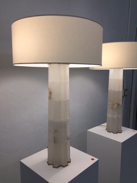 Faceted, honed marble lamps