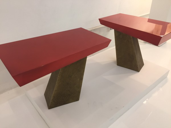 Bronze tables with lacquer tops