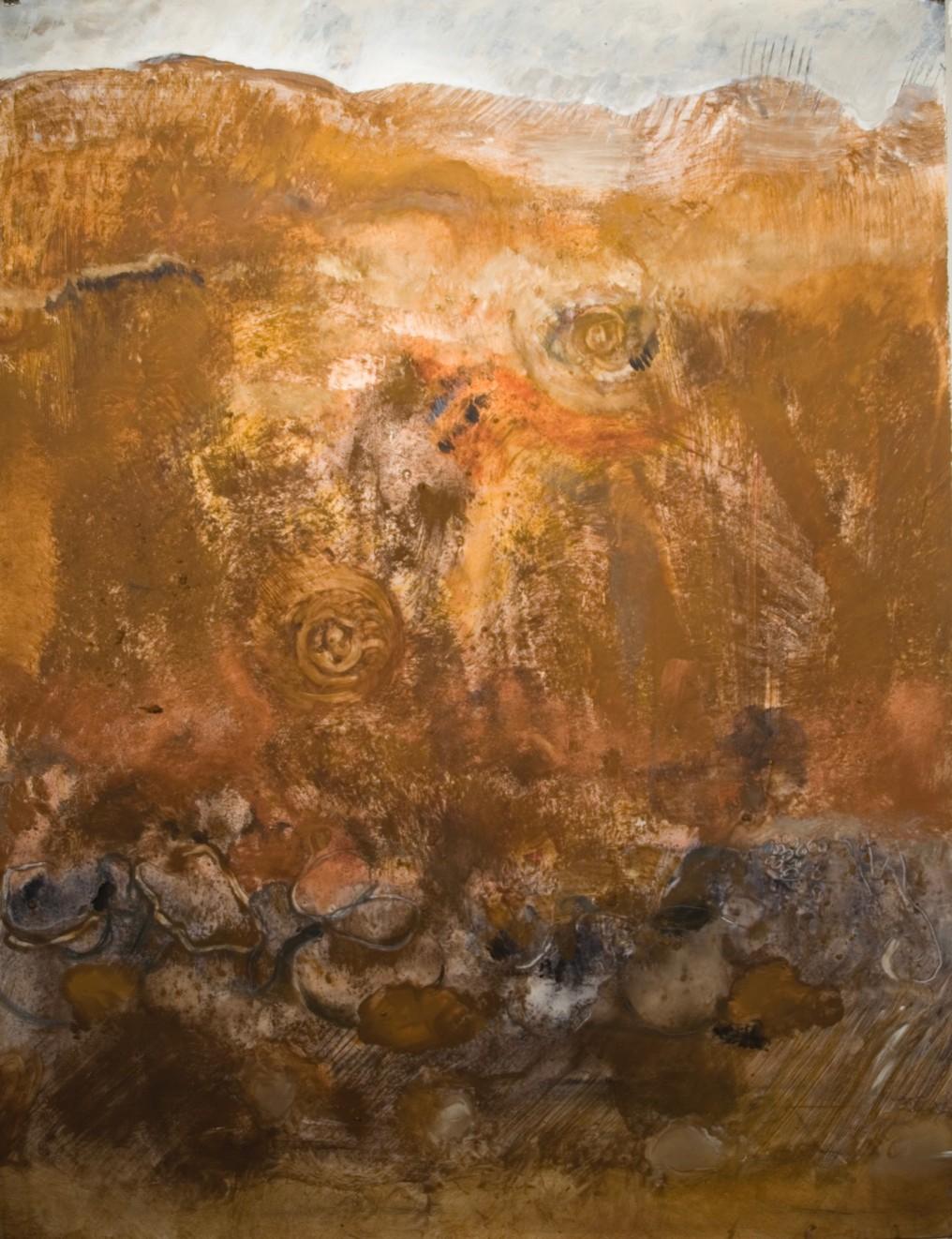 Powdered pigment, acrylic, graphite, on Stonehenge paper 50 x 38