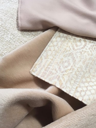 Soft nudes in mohair, wool sateen & chenille