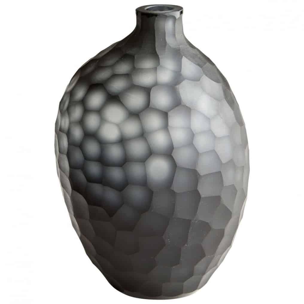 Faceted Black Glass Vase