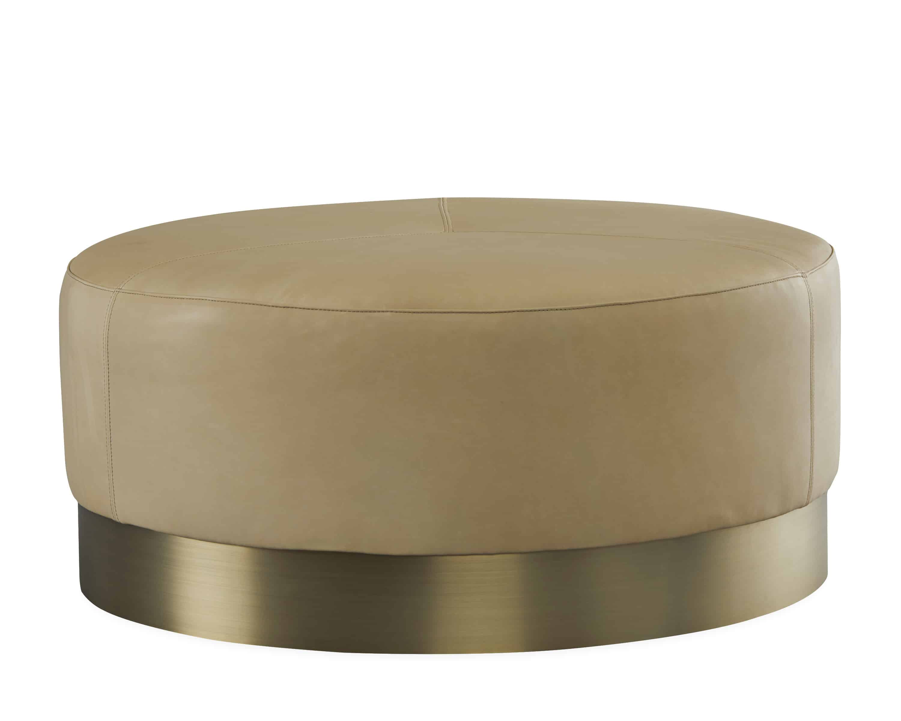 - Lee Round Leather Cocktail Ottoman Cabana Home